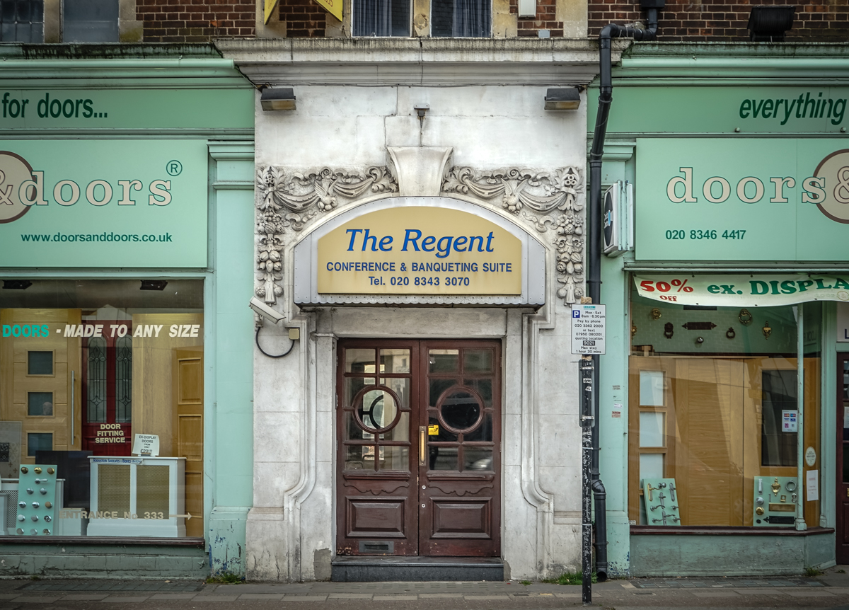 ... Finchley Central Borough of Barnet London N3 2016 \u2022 Grand doorway somewhat let down by plastic canopy. Aptly it\u0027s flanked by a door shop. & The Regent \u2013 Shopfront Elegy