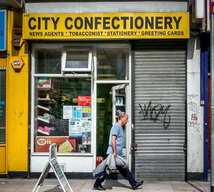 City Confectionery, 105 Shoreditch High Street, Borough of Tower Hamlets, London E1, 2002 & 2006 • In 2006 looking like an art istallation, and in 2002 when open. Part of a block that has been knocked down and rebuilt, now swanky lifestyle shops https://goo.gl/maps/dYo9DxF1XFA2